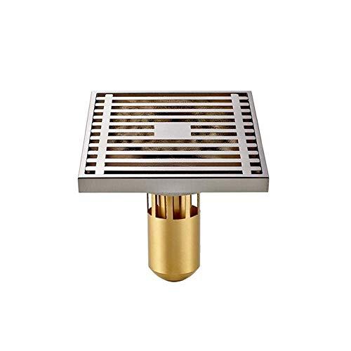 Syxfckc 10 * 10 * 8,5 cm Quadrat Kupfer Deodorant Bodenablauf Bad Duschrinne mit großem Durchmesser Versuche, die Küche, Bad, Garage und Keller Ablaufschutz, Dicke Oberfläche zu verhindern,
