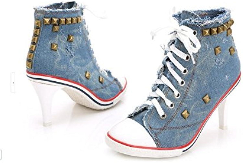 HOESCZS Damenschuhe Damenschuhe Denim High Heels Rivet Rivet Fashion Canvas Schuhe Damenschuhe  zum niedrigsten Preis