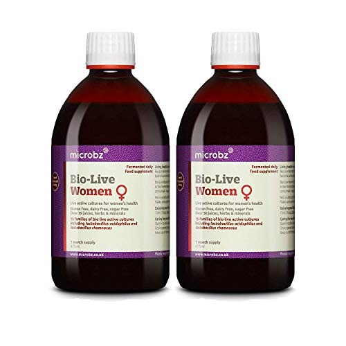 Microbz (Twin Pack) Bio-Live for Women (475ml) Bio Cultures Probiotic Liquid Supplement - Multi Strain Fermented Liquid Formula with Bio Live Active Natural Cultures for Everyday Oral Use