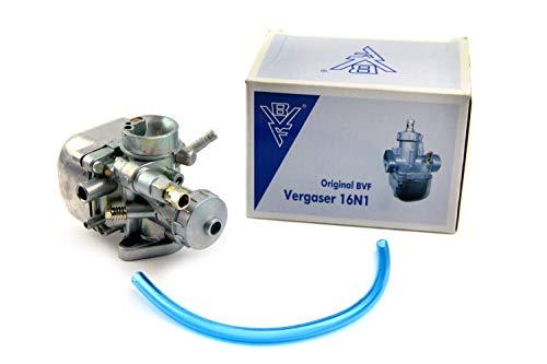 Original BVF Vergaser 16N1-5, Benzinschlauch, 67er Hauptdüse für Simson Kr51/1 + Bisomo-Sticker