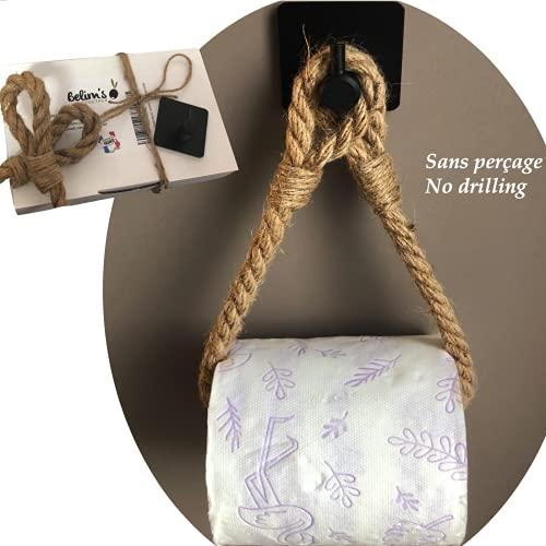 Porta carta igienica adesivo in Corda - Portarotolo di carta igienica industriale porta rotolo da muro senza forare - Porta asciugamani accessori bagno