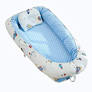 Baby Lounger Nest Bassinet for Bed, Portable Baby Co-Sleeping Cribs & Cradles for Bedroom and Travel, 100% Soft Cotton Baby Bed
