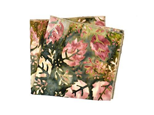 Handgenähtes Einstecktuch grün rosa Herbst