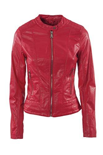 Jophy & Co - Chaqueta corta - Confeccionada en piel ecológica - Chaqueta de mujer con bolsillos, cremalleras y cuello mao - Modelo n. 8820 rojo S