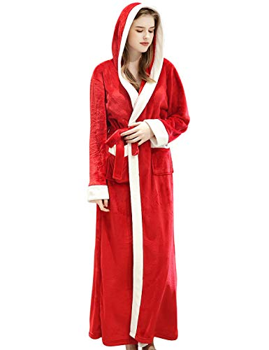 Mens Long Hooded Bathrobe Fleece Full Length Bathrobe with Hood Winter Sleepwear, Red-XL