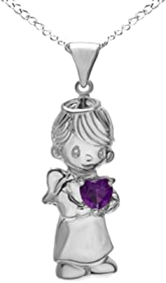 Jewel Zone US Heart Cut Simulated Amethyst Boy Angel Pendant in 14k Gold Over Sterling Silver