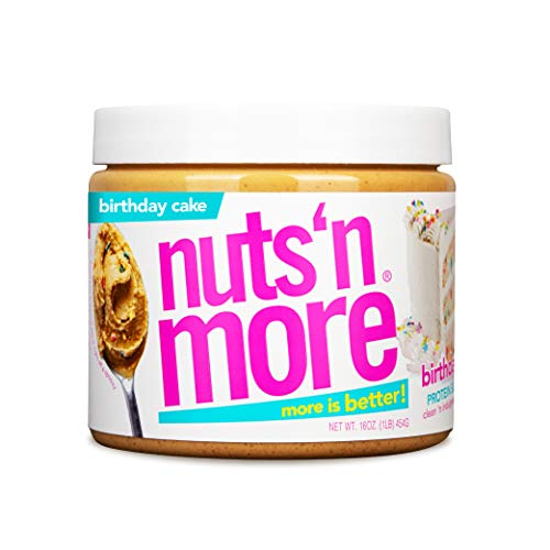 Nuts 'N More Birthday Cake Peanut Butter Spread, All Natural High Protein Nut Butter Healthy Snack, Omega 3's and Antioxidants, Low Carbs, Low Sugar, Gluten Free, Non GMO, Preservative Free, 16 oz Jar