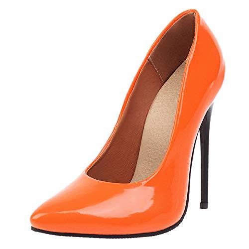 LUXMAX Decolte Donna con Tacco Alto Spillo Sexy Vernice Scarpe Slip-on a Punta Decollete Tacco Altissimo 12 CM (Arancione) - 40 EU