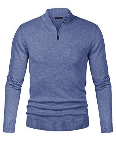 iClosam Maglioni Uomo Invernali Collo Alto con Zip Pullover Giacca in Maglia Maglione Pullover Invernale (Grigio Blu, S)