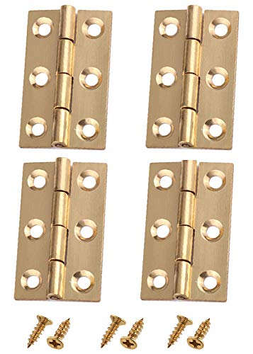 Liyafy 3 Inch Butt Hinges for Cupboard Cabinet Home Furniture Hardware Door Folding Butt Hinge Copper Tone 4 Pcs