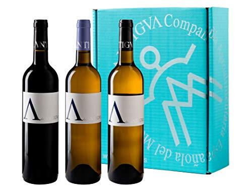 A de ANTIGVA Colección - Vino Tinto Tempranillo, Vino Blanco Sauvignon Blanc, Vino Blanco Verdejo - Vinos de la Tierra de Castilla - La Mancha - Estuche 3 botellas x 750 ml