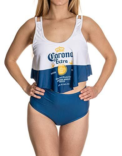 Offizieller Corona Flowy Bikini mit hoher Taille - Blau - XX-Large