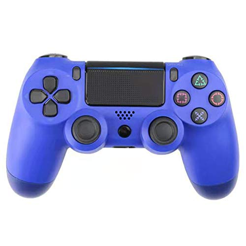 ERGGQAQ Gamepad Inalámbrico Bluetooth, Controlador PS4, con Barra luz LED y Panel Táctil, para Playstation 4 Pro/PC/Teléfono Celular/Tableta/Switch/Joystick Juego DualShock 4,Azul