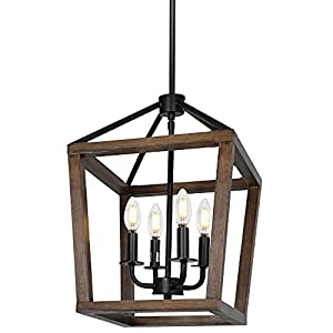 hykolity 4-Light Rustic Chandelier, Adjustableheight Lantern Pendant Light W/ Oak Wood and Iron Finish, Farmhouse Lighting Fixtures for Dining Room, Kitchen,hallway, 18 inchh x 12 inch W, ETL Listed