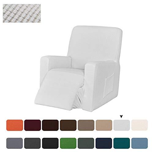 Sesselbezug Stretch, Sesselschoner Für Relaxsessel, Sesselüberwürfe Elastisch Bezug Für Fernsehsessel Liege Sessel, Liegestuhl Abdeckung (Weiß)