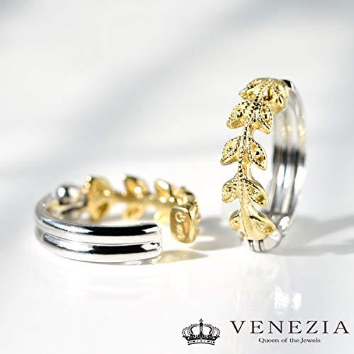 [ベネチア]VENEZIAK18ピアリング「calando」コンビイヤリングK18YG+K18WG
