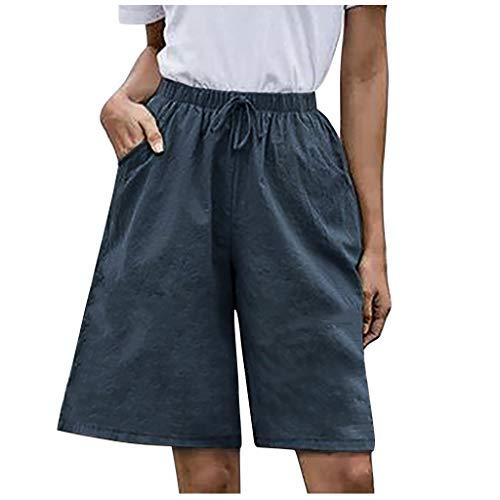 WUAI-Women Lounge Bermuda Shorts Plus Size Causal Drawstring Elastic Waist Loose Workout Sweat Shorts Knee-Length(Navy,3X-Large)