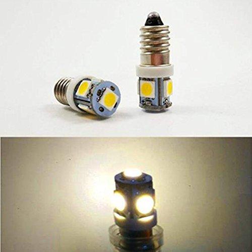 LED-Scheinwerfer-Lampe, Glühbirne, zum Einschrauben, 4 x E10 6 V 5050 5SMD 6000 K / 4300 K MES , Warmweiß, 6V, E10