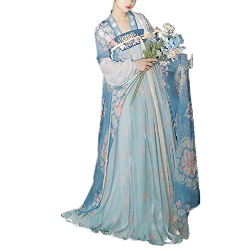 Vestido tradicional chino Hanfu para mujer Tang Dynasty bordado de hadas traje antiguo traje de cosplay traje de 3 piezas-azul_M