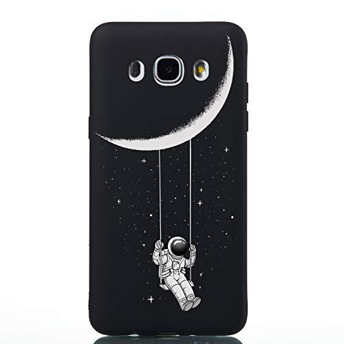 Dyluck Cover Samsung Galaxy J5 2016 in Silicone TPU, Custodia Morbida TPU Slim Anti Scivolo Nero Case Cover per Samsung Galaxy J5 2016 3D Flessibile Protezione Bumper(Astronauta)