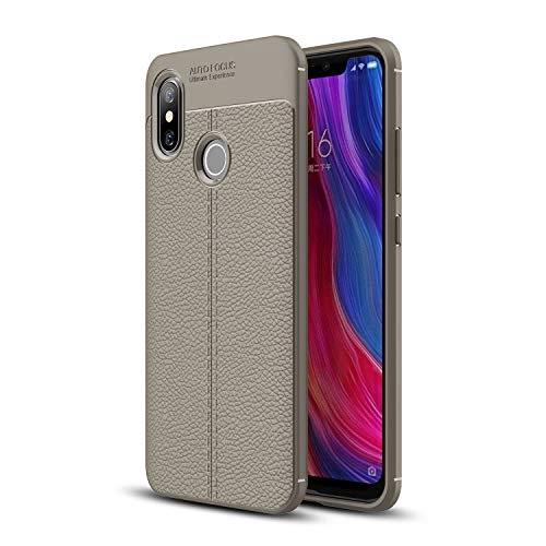 Cruzerlite Xiaomi Mi 8 Coque, Flexible Slim Case with Leather Texture Grip Pattern and Shock Absorption TPU Cover for Xiaomi Mi 8 (Gray)