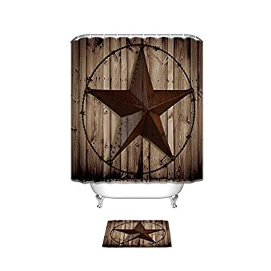 Western Texas Star Bathroom Set Shower Curtain with Bath Mats Rugs