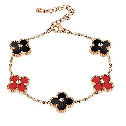 Brazalete para mujer, pulseras brillantes de trébol, brazaletes de mujer, puños ajustables de cuatro hojas trébol de la muñeca accesorios de la joyería del día de San Valentín regalos de cumpleaños