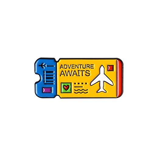 JPOYT * Adventure Awaits Esmalte Pin Boletos De Avión Camisa Personalizada Bolsa De Solapa Insignia Al Aire Libre Viajes Joyería Broches Pines Regalo para Amigos(Size:1)