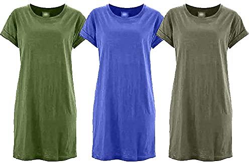 Kit com 03 Vestidos Camisetão Feminino Mulheres Alta Qualidade Super Estiloso – Royal – Verde – Bege – GG