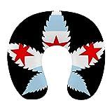 Almohada de viaje en forma de U de moda Cojín de apoyo para el descanso del cuello Almohada de descanso de viaje cómoda y transpirable para la siesta de avión / coche / oficina (Weed Chicago Flag Blac