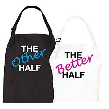 Couples Gifts - Half / Better Half Couple Aprons Set His Hers Wedding, Bridal Shower Anniversary Gift By Let the Fun Begin