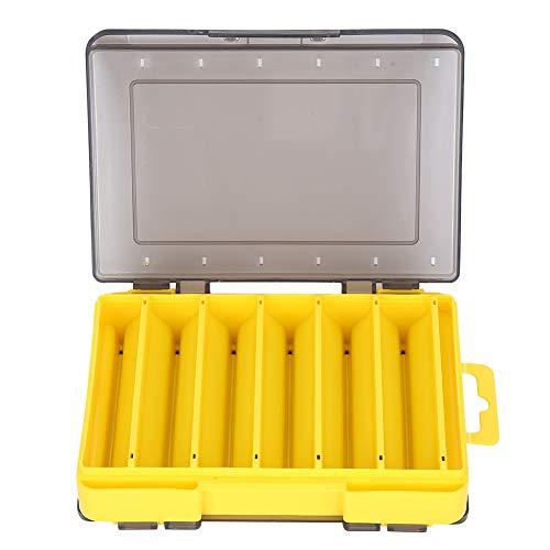VGEBY Caja de Aparejos de Pesca con Gancho de Pesca de plástico Ajustable Caja de Almacenamiento Aparejo portátil Caja de Aparejos de Pesca Multifuncional(Amarillo)
