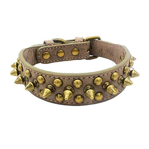 Newtensina Retro Bronze Nieten Hundehalsband Hündchen Halsband mit Nieten für Klein Hunde Mittel Hunde - Grey - S