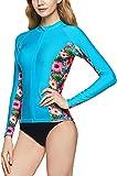 TSLA Camiseta de natación para mujer UPF 50+ con cremallera, protección contra rayos UV, protección contra el sol, Mujer, Fsz11 Blooming Sea - Juego de mesa, large