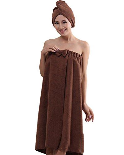ZiXing Sombrero cabello seco y toalla de baño, la falda pareo suave con velcro y toalla de pelo Abrigo de algodón orgánico café OneSize