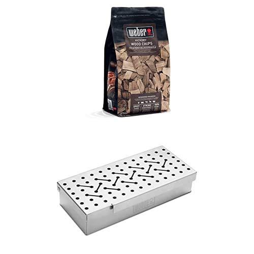 Weber 7576 Räucherbox universal, Räuchern, für Gas- und Holzkohlegrills, Raucharmona + Weber Räucherchips Hickory 700g, Räuchern, Aroma, Grillen
