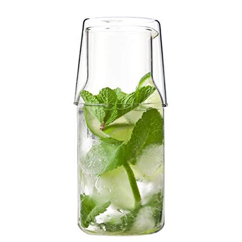 Evilandat Nachttisch Wasser Glaskaraffe mit Becher, Guestroom Bedside Wasserkaraffe, Handgemacht Glasbehälter, 550ML (kleine Kapazität)
