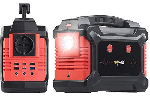 reVolt Energiewürfel: Powerbank & Solar-Konverter, 60 Ah, 222 Wh, 230 V, QC, USB, 12V, 200 W (Solar Powerpack)