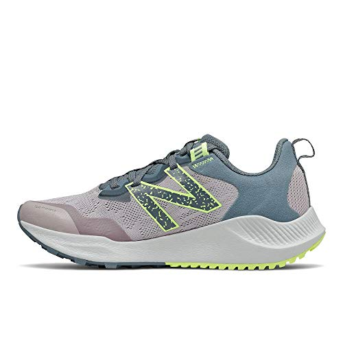 New Balance Women's DynaSoft Nitrel V4 Trail Running Shoe, Logwood/Ocean Grey/Bleached Lime Glo, 7