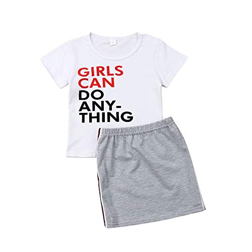 Toddler Baby Girl Clothes White Letter T-Shirt + Grey Straight Pencil Stretchy Skirt Set (White, 2-3 Years)