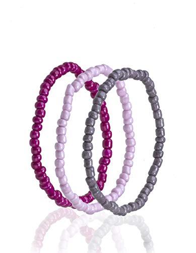 Drei Perlen-Armbänder rosa-pink-grau, Set, Glasperlenrocailles 4 mm, Modeschmuck, Handmade