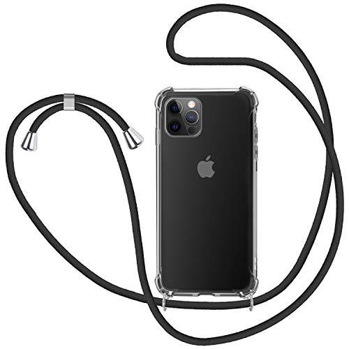 SAMCASE Funda con Cuerda para iPhone 12 Pro MAX 6.7'', Carcasa Transparente TPU Suave Silicona Case con Correa Colgante Ajustable Collar Correa de Cuello Cadena Cordón - Negro