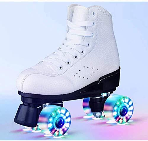 Skate-Gang Netter Roller Skates für Kinder und Erwachsene, Premium Leder Rink Rollschuh, Klassik Quad Skates, mit Alle Räder leuchten,Weiß,41