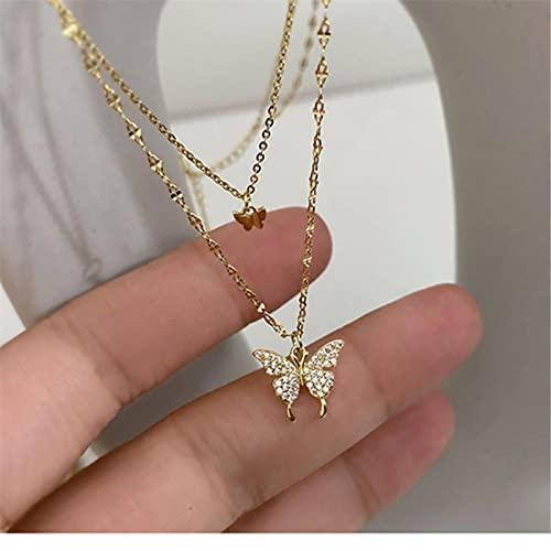 DALIU Collar de Plata de Ley 925, Gargantilla con Colgante de Mariposa Brillante para Mujer, Delicado Collar de Cadena de clavícula de Doble Capa, joyería