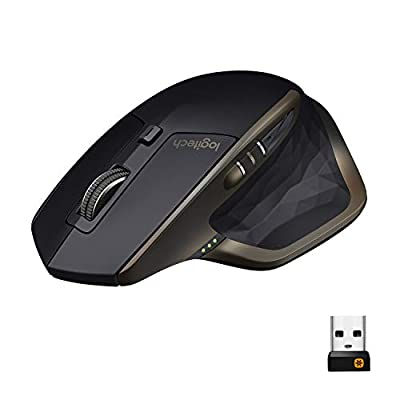 Logitech MX Master Wireless Mouse, Bluetooth or 2.4 GHz with USB Unifying Mini-Receiver, 1000 DPI Any Surface Laser Tracking, 5-Buttons, Amazon version, PC / Mac / Laptop - Graphite Black