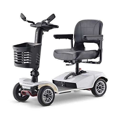 ANAN Elektroroller für Senioren und Behinderte, Elektro Scooter mit 20-Ah-Lithiumbatterien und verstellbarem Sitz,Weiß