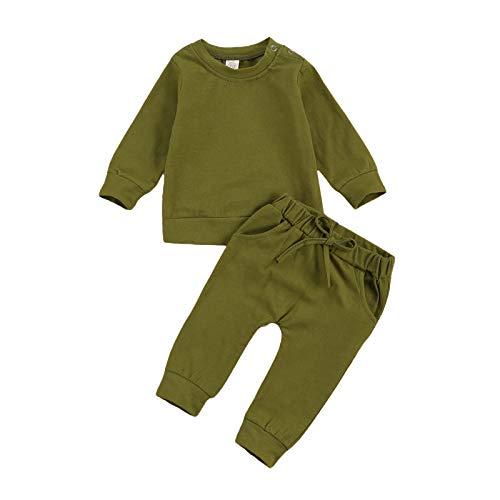 Langarm-T-Shirt für Kleinkinder, Baby, Jungen, Mädchen, einfarbig, Oberteil + Hose, Freizeitkleidung Gr. 6-12 Monate, armee-grün