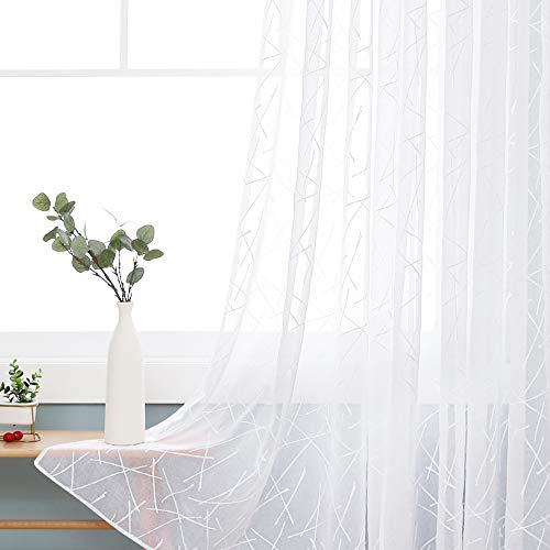 Deconovo Ösenvorhang Transparent Gardinen Wohnzimmer Vorhang Stickerei 183x140 cm Weiß Linie 2er Set