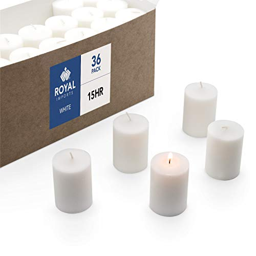 Royal Imports Votive Candle, Unscented White Wax, Box of 36, for Wedding, Birthday, Holiday & Home Decoration (15 Hour)