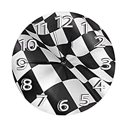 Ufiner Black and White Checkered Racing Flag Wall Clock Decorative Round Clock Silent Non Ticking Clocks with Large Numbers Elegant Desk Clock for Kitchen Office School Home